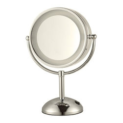 Nameek's - Chrome Double Face 3x Makeup Mirror, Satin Nickel - This 8.5 inch round table mirror has two faces.