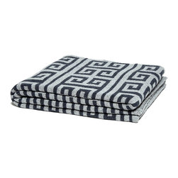 Reversible Infinite Greek Key Throw - Smoke / Black - Sensible and striking in a practical palette of grey and black, this uptown throw made from recycled cottons has a soft touch that belies the crispness of its pattern. The Reversible Infinite Greek Key Throw looks both smart and cozy when it's folded on a corner chair or draped across your bed, and its achromatic interest lends an urban quality to your style.