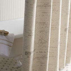 """French Laundry Home - French Laundry Home """"French Script"""" Shower Curtain - Neutral shower curtain with tailored knife edge is embellished with French script on beige. By French Laundry Home. Made of linen and cotton. Dry clean. 72""""Sq. Made in the USA."""