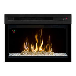 Dimplex 25-In Multi-Fire XD Plug-In Contemporary Electric Fireplace Insert - PF2 - The Dimplex 25-In Multi-Fire XD Plug-In Contemporary Electric Fireplace Insert - PF2325HG is truly the latest and greatest when it comes to enhanced flame technology by Dimplex. The firebox features the latest Multi-Fire XD flame technology that accurately creates the illusion of a burning flame rising from a crushed glass and acrylic ice ember bed. You'll also have the option to adjust the color of the glass ember bed to any of the 5 theme choices (White, Blue, Green, Purple, Red) for a customized look, depending on your mood. The firebox also features an integrated ceramic heater capable of producing supplemental heat 1000 Sq. Ft. areas. Ceramic heat is similar to infrared, however is more energy efficient, and uses 11% less energy. Additional operation efficiency can be noted in the new ECO mode which reduces power consumption by 33%, limiting heat output to 750W and resulting in all together quieter operation. Think that's a lot of features? We've only just scratched the surface. The new gWave technology is an exclusive Dimplex enhancement which allows you to turn your fireplace on/off with just the wave of your hand in front of the unit.