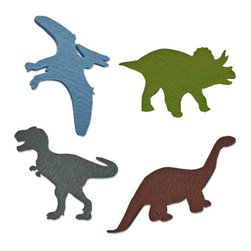 The Felt Store - Felt Dinosaur Decals - Set - Have some fun with The Felt Store's Felt Dinosaurs! Bring imagination and dinosaurs back to life with these colourful dinosaur shapes. Great for kids to play with and learn from, these are soft, contemporary forms of our pre-historic friends. The felt dinosaur has an adhesive backing that will allow kids and adults to stick the dinosaurs on many different surfaces. The dinosaurs are made from 2mm Design Felt, which is 100% Merino Wool. The adhesive backing is reusable, removable and non-marking, allowing you to stick your dinosaurs in many different places over and over again! This is a set of four dinosaurs. It includes 1 Triceratops, 1 T-Rex, 1 Brontosaurus and 1 Pterodactyl. Each type of dinosaur measures from 3.5 inches to 4.5 inches long (89mm to 144mm) and from 5 inches to 7.5 inches wide (127mm to 191mm).