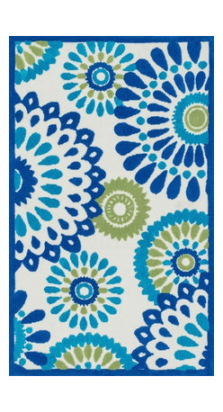 "Loloi Rugs - Loloi Rugs Zoey Collection - Blue / Green, 2'-0"" x 3'-0"" - Zoey is a delightful collection of lighthearted, cheerful patterns in pinks, blues and greens that are perfect for young kids or the young at heart. Power loomed in China of super soft polyester microfiber, Zoey rugs are durable, yet soft enough for infants and toddlers to cozy up to.�"