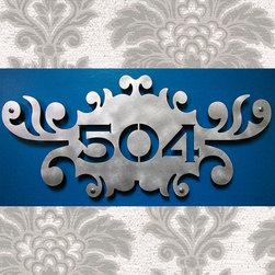 "Address Plaques - CUSTOM Brocade Address Sign in Aluminum 20"" X 9"""