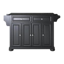 Crosley - Alexandria Solid Black Granite Top Kitchen Island in Black Finish - Constructed of Solid Hardwood and wood veneers, this kitchen island is designed for longevity. The Beautiful raised panel doors and drawer fronts provide the ultimate in style to dress up your kitchen. Two deep drawers are great for anything from utensils to storage containers. Behind the four doors, you will find adjustable shelves and an abundance of storage space for things that you prefer to be out of sight. Style, function, and quality make this kitchen island a wise addition to your home.