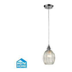ELK - ELK 46017/1 Pendant - This Collection Offers Scalloped Glass Accentuated With Finely Crafted Stepped Details On The Metalwork. Choose Between Mercury Glass With Metal Finished In Oiled Bronze Or Clear Glass With Metal Finished In Polished Chrome.