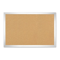 "The Board Dudes - The Board Dudes Cork Board With Aluminum Frame, 24""x36"" - Bulletin board offers a cork surface and aluminum frame. The fine-grain cork is self-healing and hides pinholes after use. Durable cork withstands wear and tear of repeated pushpin, staple or tack use. Bulletin board includes hanging hardware."