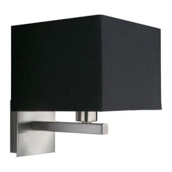 Philips - Roomstylers Wall Sconce No. 36677 by Philips - In interiors from transitional to contemporary, the Philips Roomstylers Wall Sconce No. 36677 adds clean-lined design and a rich ambient glow. The square shade has its shape matched in the wall plate, as the deep tone of its Black fabric is complemented by the metal base's soft brushed finish.Philips lighting introduces a range of revolutionary, minimalist lighting collections from the energy saving Ledino and Ecomoods collections to the exclusive Roomstylers collection, allowing you to light your world with poise and style. Affordable and cutting-edge, Philips lighting is versatile, contemporary lighting design for every room in the house.The Philips Roomstylers Wall Sconce No. 36677 is available with the following:Details:Square Black fabric shadeMetal baseMatte Chrome finishSquare wall plateOn/off switchUL ListedLighting:One 60 Watt 120 Volt Type E12 Candelabra Base Incandescent lamp (not included).Shipping:This item usually ships within 3-5 days.