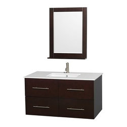 """Wyndham Collection(R) - Centra 42"""" Single Bathroom Vanity for Undermount Sinks by Wyndham Collection - E - The Wyndham Collection is an entirely unique and innovative bath line. Sure to inspire imitators, the original Wyndham Collection sets new standards for design and construction.Simplicity and elegance combine in the perfect lines of the Centra vanity by the Wyndham Collection®. If cutting-edge contemporary design is your style then the Centra vanity is for you - modern, chic and built to last a lifetime. Available with green glass, pure white man-made stone, ivory marble or white carrera marble counters, and featuring soft close door hinges and drawer glides, you'll never hear a noisy door again! The Centra is available with porcelain sinks and matching mirrors. Meticulously finished with brushed chrome hardware, the attention to detail on this beautiful vanity is second to none.Centra Bathroom Vanities are available here in multiple sizes and finishes and are now available with optional CaesarStone® counters!FeaturesConstructed of environmentally friendly, zero emissions solid Oak hardwood, engineered to prevent warping and last a lifetime12-stage wood preparation, sanding, painting and finishing processHighly water-resistant low V.O.C. sealed finishUnique and striking contemporary designModern Wall-Mount DesignMinimal assembly requiredDeep Doweled DrawersFully-extending under-mount soft-close drawer slidesConcealed soft-close door hingesCounter options include Green Glass, Pure White Man-Made Stone, Ivory Marble, White Carrera Marble, and CaesarStone (many colors available)Backsplash not availableAvailable with Porcelain undermount sink(s) Pre-drilled for asingle hole faucetFaucet(s) not includedMetal exterior hardware with brushed chrome finishTwo (2) functional doorsTwo (2) functional drawersMatching mirror(s) availablePlenty of storage spacePlenty of counter spaceVariations in the shading and grain of our natural stone products enhance the individuality of"""