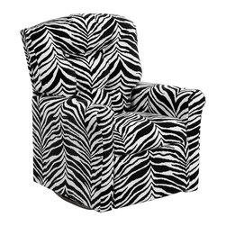 "Flash Furniture - Kids Zebra Print Microfiber Rocker Recliner - Kids will now be able to enjoy the comfort that adults experience with a comfortable recliner that was made just for them! This chair features a strong wood frame with soft foam and then enveloped in durable microfiber upholstery for your active child. Choose from an array of colors that will best suit your child's personality or bedroom. This petite sized recliner features a rocker frame for kids to enjoy and feel like a big kid. The rocking feature becomes disabled once the chair is reclined for safety. Child's Recliner; Zebra Print Microfiber Upholstery; Easy to Clean Upholstery; Plush Button Tufted Back; Spring Seat; Fire Retardant Foam; UFAC Tested and Approved; Solid Hardwood Frame; Hardwood Rocker Frame; Intended use for Children Ages 2-9; 90 lb. Weight Limit; Safety Feature: Will not rock while reclined due to welded T-Bar; Overall dimensions: 22.5""W x 24"" - 37""D x 28""H"