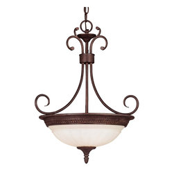Karyl Pierce Paxton - Karyl Pierce Paxton KP-7-505-3-40 Liberty Transitional Inverted Pendant Light - Climb into your horse drawn carriage and go back in time with the Liberty collection. A dignified Colonial design with a rustic Walnut Patina finish almost makes this collection an amercian treasure.