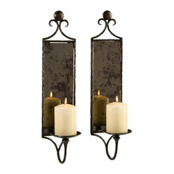 Imax Worldwide Home - Hammered Mirror Wall Sconce - Set of 2 - Set of 2. Material: 65% Iron, 35% Glass. 20 in. H x 5 in. W x 5.5 in. D. Weight: 5.5 lbs.Antiqued mirror reflects the dancing light of pillar candles in this set of two wall sconces, eloquently devised with their hammered metal design.