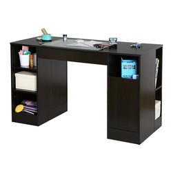 South Shore - Craft Table in Chocolate Finish - Storage drawer under work surface. Divided drawer for pens or pencils, calculators and other small items. Metal drawer slides for a smooth gliding. Storage space on either side designed as interchangeable modules. One module with three open storage spaces on front defined by two shelves and five angled open storage spaces on side with adjustable shelves. Other module with one open storage space on front defined by a fixed shelf and a drawer and two narrow storage spaces on side separated by a fixed shelf. All surfaces are laminated. Ideal for keeping all creative materials at fingertips. Neutral finish and simple lines. Easy-to-access storage spaces. Warranty: Five years limited. Made from laminated particle boards. Made in Canada. Drawer: 23.75 in. W x 13.25 in. D x 3.25 in. H. Overall: 53.5 in. W x 23.5 in. D x 30 in. H (121 lbs.). Assembly InstructionsThis Crea Craft Table is simply perfect for your creative hobbies - sewing, scrapbooking or jewelry making - every artist needs a dedicated work space! This desk goes well in any room, due to its neutral Pure White finish. Now you can spend more time being creative and less time in organizing your space.