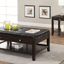 Coaster - 702497 2 Pcs Occassional Table Set - Stylish occasional group that features convenient storage drawers and a bottom shelf. The coffee table can double as a tufted upholstered seat in black leather-like vinyl.