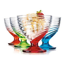 "Home Essentials - Set of 4 Colored Glass Dessert Cups - Add some fun to your drinking accessories with these unique rainbow colored dessert glasses! Set of cups includes four assorted multi colored ribbed 8.45 oz. glassware. Exceptional in quality and style, they are just as efficient as they are pretty! Perfect for the dessert course or as an appreciation gift of utmost graciousness! * Dimensions: D: 4"" X H: 4"" * Capacity: 8.45 oz."