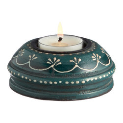 Everybody's Ayurveda - Wooden Hand Painted T-lite Holder in Adoosa Wood - Blue - Blue Wooden Embossed Painted Tealight Holder. Package Includes: T-lite Holder Only. Dimensions: Width: 3.5 inch. Height: 1.25 inch.
