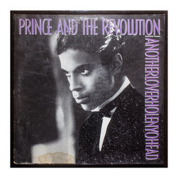"""Glittered Prince I Need Another Lover 12"""" Single - Glittered record album. Album is framed in a black 12x12"""" square frame with front and back cover and clips holding the record in place on the back. Album covers are original vintage covers."""