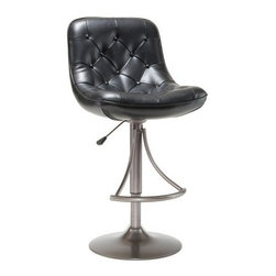 Hillsdale Aspen Swivel Adjustable Height Bar Stool - Black - With its durable design and sophisticated style the Hillsdale Adjustable Aspen Swivel Bar Stool - Black is the perfect accent for the modern home. This sleek bar-height stool is ideal for home bars or kitchen islands. It features a contemporary design with a sloped button-tufted padded seat upholstered in black faux leather. Easy to clean (just wipe with a soft cloth) this contemporary stool is perfect for eating entertaining casual conversation and more. It's crafted with a durable metal base complete with round stand oyster grey finish and half-ring footrest. This metal bar stool features a built-in swivel and adjustable height which is activated by a lever and an airlift system. The seat height adjusts from 25-30 inches to accommodate a variety of users. Please note: This item is not intended for commercial use. Warranty applies to residential use only. About Hillsdale FurnitureLocated in Louisville Ky. Hillsdale Furniture is a leader in top-quality affordable bedroom furniture. Since 1994 Hillsdale has combined the talents of nationally recognized designers and globally accredited factories to bring you furniture styling and design from around the globe. Hillsdale combines the best in finishes materials and designs to bring both beauty and value with every piece. The combination of top-quality metal wood stone and leather has given Hillsdale the reputation for leading-edge styling and concepts.
