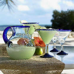 Margarita Recycled Glass Drinkware - It's not a party without something tasty to drink! Whether you pour something boozy or not, this set makes it instantly festive.