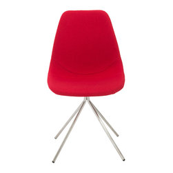 Euro Style - Dax Side Chair (Set of 4) - Red Fabric/Brushed Stainless Steel - The seat and back are fabric on foam and quite comforting.  It's the base of the DAX chair that sets it apart. The four brushed stainless legs come together and form a one legged 'pedestal' that supports the chair.  It's a subtle design distinction that truly distinguishes DAX from the rest.