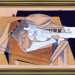 """Art MegaMart - Juan Gris Bowl  Glass and Newspaper - 16"""" x 24"""" Framed Premium Canvas Print - 16"""" x 24"""" Juan Gris Bowl  Glass and Newspaper framed premium canvas print reproduced to meet museum quality standards. Our Museum quality canvas prints are produced using high-precision print technology for a more accurate reproduction printed on high quality canvas with fade-resistant, archival inks. Our progressive business model allows us to offer works of art to you at the best wholesale pricing, significantly less than art gallery prices, affordable to all. This artwork is hand stretched onto wooden stretcher bars, then mounted into our 3 3/4"""" wide gold finish frame with black panel by one of our expert framers. Our framed canvas print comes with hardware, ready to hang on your wall.  We present a comprehensive collection of exceptional canvas art reproductions by Juan Gris."""