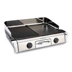 All-Clad - All-Clad Electric Grill/Griddle (TG806C51) - Versatile freestanding indoor grill-griddle features professional All-Clad construction in beautiful polished stainless with two grill plates and one griddle plate. Removable, die-cast aluminum plates have embedded heating elements. Independent temperature controls allow you to cook two dishes at once. Additional features include cleaning tool, removable splash guard and drip tray.include 2 cleaning accessories for the cooking plates.