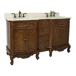 "Hardware Resources - Lyn Design VAN062D-60-T-MC, Nutmeg - This 60-7/8"" wide MDF double vanity features carved floral onlays and French scrolled legs for a traditional feel. The Nutmeg finish adds depth to this vanity. Two large cabinets with a center bank of fully functional drawers provide ample storage. This vanity has a 2 cm Cream marble top preassembled with two H8809WH (15"" x 12"") bowl, cut for 8"" faucet spread, and corresponding 2 cm x 4"" tall backsplash. Overall Measurements: 60-7/8"" x 22-7/8"" x 35-3/4"" (measurements taken from the widest point)"