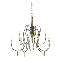 Cameron- Chandelier - French Shabby Chic Classic Chandelier with Carved Wooden Post and Delicate Iron Arms