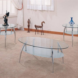 Coaster - 3-Pc Contemporary Storage Occasional Table Se - Includes one coffee table and two end tables. Bold chrome legs. Glass lower shelf offers additional storage and display space. Round end and oval coffee table. End table: 23 in. Dia. x 21 in. H. Coffee table: 46.75 in. W x 25.25 in. D x 17.75 in. H. WarrantyTake home this three piece chrome and glass occasional table set for a generous measure of modern style. Top with a metallic lamp to complete the space age appeal of this three piece occasional table set.