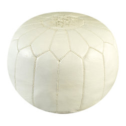 Moroccan White Leather Pouf - AMoroccan artisans skillfully hand-stitches each pouf with care and craftsmanship that has been passed down from generation to generation. The North African pouf has traditionally been used as a low table where tea is usually served. Add a piece of culture to your home or instant color wherever you place it. We offer a variety of styles and colors to choose from. Add one of our sophisticated poufs to dress up a room or a fun pouf to add a pop of color to a kids room. Each pouf is hand stuffed with a special technique to hold its shape using a specific cotton/polyester blend.