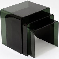 Modway Casper Black Acrylic Nesting Tables - 3 Piece Set - Small spaces can still be big on style with our East End Imports Casper Black Acrylic Nesting Tables - 3 Piece Set. Crafted with durable acrylic in a transparent black shade, each of the three, rounded-edge tables in this nesting set has a top perfectly suited to cocktails, coffee cups, and snack dishes. Use the tables separately throughout a room and stack them neatly after activities to keep clutter at a minimum.DimensionsLarge: 16W x 13D x 16H inchesMedium: 15W x 13D x 14H inchesSmall: 14W x 13D x 12H inchesAbout East End ImportsBased in New York City, East End Imports designs and manufactures modern classics. With original ideas and innovative interpretations, East End delivers the highest-quality contemporary furnishings in the widest selection of colors at the lowest prices possible.