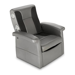 X Rocker - X Rocker Storage Flip Chair w Arms - Super comfortable arm chair will keep you happy for hours-long movie or gaming marathons. Cut the clutter with the spacious under-seat storage compartment, or fold down seat back for footrest. Two speakers and a subwoofer use AFM Technology for a total sound immersion experience. Will play music from any source with headset or RCA outputs. Great for playing video games, listening to music, watching TV, reading, and relaxing. Overall Dimensions: 35.24 in. L x 31.1 in. W x 28.54 in. H (40.79 lbs)Welcome to the world of interactive audio. With the X Rocker Storage Flip Sound Chair you can now not only hear your music but actually feel it. Get ready to experience sound as you never have. The X Rocker Storage Flip Chair with 2.1 Audio has two speakers hidden in the head rest and a subwoofer that uses Ace Bayou's innovative Audio Force Modulation Technology. AFM incorporates speakers and ported power subwoofers and uses the open space inside the X Rocker - not just the frame - to magnify sound quality and intensify your experience. X Rocker Storage Flip Sound Chair with 2.1 Audio combines 3 awesome functions: you can sit in the comfy armchair for hours of gaming, movies, or just hanging out. You can lift up the seat to reveal a spacious storage compartment for your video games, DVDs, or whatever other type of clutter. And the seat back folds down turning this unit into a comfortable bench or footrest. Ergonomic design with full back support. Side facing speakers built into seat back.