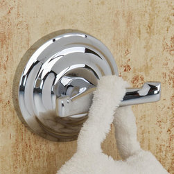 Isis Double Robe Hook - Keep your robes dry and tidy with this robe hook from the Isis Collection. It features a double hook design and a round mounting bracket. Complete the look with other items from the collection.
