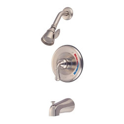 "Kingston Brass - Satin Nickel Magellan Trim Only for Single Handle Tub & Shower Faucet KB638T - Solid brass water way construction, Premium color finish resists tarnishing and corrosion, 2.5 GPM / 9.5 LPM at 60 PSI, 6"" reach Shower Arm, 1/4 turn washerless cartridge, 1/2"" IPS Inlets, Pressure Balance Valve, Temperature Check Stop, Ten year limited warranty.. Manufacturer: Kingston Brass. Model: KB638T. UPC: 663370026232. Product Name: Trim Only for Single Handle Tub & Shower Faucet. Collection / Series: Magellan. Finish: Satin Nickel. Theme: Contemporary / Modern. Material: Brass. Type: Faucet. Features: Beautiful premier finish"
