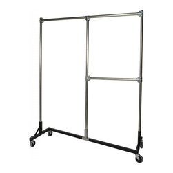 "Quality Fabricators - Z-Rack - Heavy Duty, Split rail, 72"" Uprights 1/2 Middle Rail  Black - Cramped for space in a dorm or little apartment? This rack may be your new best friend. Designed to maximize every inch, stay sturdy, and offer two hanging options, this new Split Rail Z-Rack is like adding a second closet to a room. We can t help with the final exam cram session, but we can give you garment hanging space. That s the long and short of it."