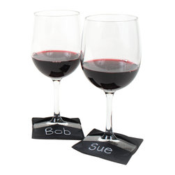 Great Useful Stuff - 3-in-1 Soft Coasters, Felt, Set of 4 - Made of felt, elastic and chalkboard fabric, these multifunctional 3-in-1 Soft Coasters are ideal for worry-free entertaining when serving wine. They protect from scratches and drips and offer labels for names to identify whose wine glass is whose. Chalkboard pencils sold separately.