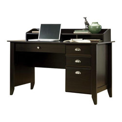 Sauder - Sauder Shoal Creek Desk in Jamocha Wood - Sauder - Computer Desks - 409733 - Sure lots of office and home furnishing manufacturers can help you create an organized comfortable and fashionable place to live. But Sauder provides a special kind of furniture that is practical and affordable as well as attractive and enduring. As North America's leading producer of ready-to-assemble furniture we offer more than 500 items that have won national design awards and generated thousands of letters of gratitude from satisfied consumers.  Features: