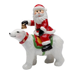 Cosmos - Santa Claus holding a Bell on a Polar Bear Salt and Pepper Shakers - This gorgeous Santa Claus holding a Bell on a Polar Bear Salt and Pepper Shakers has the finest details and highest quality you will find anywhere! Santa Claus holding a Bell on a Polar Bear Salt and Pepper Shakers is truly remarkable.