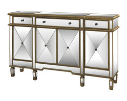 Powell - Powell Gold and Mirrored 3-drawer 4-door Console - The Mirrored console will instantly add a bit of glitz and glamour to your home. Perfect for adding to your living room or bedroom,the console provides ample interior storage space and a wide display area.