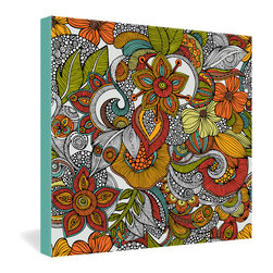 DENY Designs - Valentina Ramos Ava Gallery Wrapped Canvas - This ornate botanical ink drawing from Venezuelan artist Valentina Ramos has an Eastern feel to it, selectively colored in a warm color palette reminiscent of the 1970s. The bold lines and bright colors are dye-printed with fade-proof, archival ink into the fibers of a 1½-inch-deep, frameless canvas. An easy way to add cheer to any room.