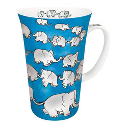 Konitz - Set of 4 Mega Mugs Chain of Elephants Blue - These porcelain mugs feature a cute group of gray elephants, trunk to tail, over a blue background.