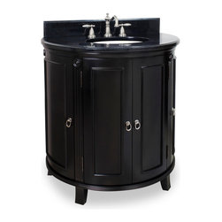 Hardware Resources - Lyn Design VAN056-T Wood Vanity - This striking vanity allows you to step up to sophistication every morning when you wake, every night before bed. It features a warm tone throughout, from the rich countertop, down to the angled feet.
