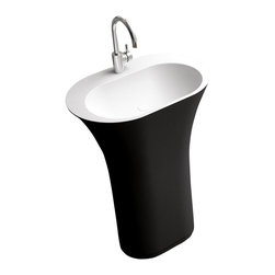ADM - ADM Black Solid Surface Stone Resin Pedestal Sink, Matte - DW-152B