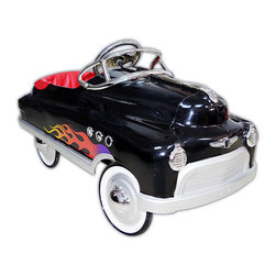 """Black Hot Rod Comet Pedal Car - In A Word """"Cool"""". Anyone Driving This Flamed Up Bad Boy Will Definitely Be Cool. Just Think Of How Excited A Little Boy Will Be When He Sees This Custom Comet Car.   Features:  *Wrap Around Padded Seat *Chrome: Hub Caps, Steering Wheel, Port *Holes, Windshield, Hood Ornament, Front *Insignia And Headlights *Custom Water Transfer Graphics *Sealed Bearings In Wheels And Pedal Crank  *High Traction Tires  *Non Slip Pedals *Lead Free Powder Coat Paint *Five Position Adjustable Pedal Assembly *Child Safety Tested  *Ages 3-5  *(Back Of Seat To Extended Pedal 19"""" To 24"""")  *Dimensions: 34"""" L X 18"""" W X 19"""" H  *Minimal Assembly Required *Shipped Insured *Brand New!"""