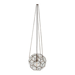 Kathy Kuo Home - Beck Brass Glass Faceted Geometric Modern Vintage Pendant Light - This vintage brass hanging pendant light provides a unique, retro fashion for your dining area or living room. Its adjustable pendant chain gives you plenty of options for where to place this geometric stunner within your home. Try suspending it above a reading corner where you curl up in your favorite chocolate leather recliner, or above a reclaimed wooden café table that overlooks the city from your urban loft.