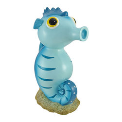 Cartoon Seahorse on Ocean Floor Coin Bank - This adorable seahorse coin bank has a goofy cartoon expression kids will love. Poseidon, the ocean king himself, forged this funny coin bank from cold cast resin. With a dark blue and white-spotted back, big yellow eyes, and blue tiger stripes, this lovely animal of the deep will make everyone smile. This friendly sea creature has plenty of space to store your hard-earned clams as it measures 13 inches tall, 9 inches deep, and 5 inches wide. A plastic cap on the bottom easily opens for access to all those sunken treasures. This loyal seahorse will sit proudly on the glitter sparkled sea floor with vigilant eyes wide open as protector of your riches. This coin bank would make a vibrant and fun addition to a kid`s room or ocean-themed home.