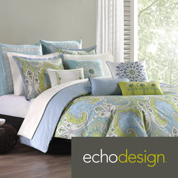 Echo - Echo Sardinia Cotton Duvet Cover with Optional Sham Sold Separately - The Sardinia Collection offers bright,bold colors in an overscaled paisley print motif. This duvet cover brings in bright shades of blue and greens to create this unique design on a soft,100-percent cotton fabrication.