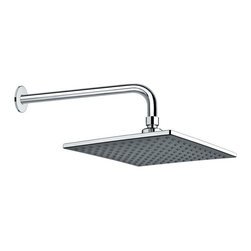 Gedy - Chrome Square Rain Shower Head and 16 Inch Stainless Steel Shower Arm - Part of the Gedy Superinox collection, this wall shower head is essential.