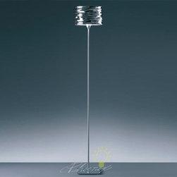 Aqua Cil Floor Lamp - Shade in mirror-treated aluminum available in polished chrome, polished metallic orange, or polished metallic blue