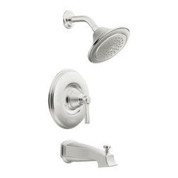 "Moen - Moen T2213 Chrome Posi-Temp Tub/Shower Valve Trim, 1-Func. Balancing Cartridge - Moen T2213 is part of the Rothbury bath collection. Moen T2213 is a new bathroom decor style by Moen. Moen T2213 has a Chrome finish. Moen T2213 Posi-Temp Tub and Shower valve only trim fits MPact common valve Posi-Temp 1/2"" valve available separately. Moen T2213 is part of the Rothbury bath collection with a relaxed blend of vintage design and traditional elements that fits perfectly with both casual and luxurious decorating styles. Moen T2213 Tub and Shower valve trim includes single-function pressure balancing Cartridge. Back to back capability. Moen T2213 is a single handle Tub and Shower valve trim only, the handle adjusts temperature. Moen T2213 tub and shower valve only single handle trim provides for ease of operation. Moen T2213 Posi-Temp pressure balancing valve maintains water pressure and controls temperature, with adjustable temperature limit stops to control max. hot water. Moen T2213 includes single function Showerhead 2.5 GPM max. with arm and flange, and a 6? slip fit diverter tub spout. Moen T2213 is ADA approved. Chrome is a proven finish from Moen and provides style and durability. Moen T2213 metal lever handle meets all requirements ofADA ASME A112.18.1/ CSA B125.1. Lifetime Limited Warranty."