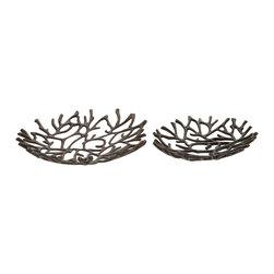 Simply Cool Aluminum Decorative Oval Bowl, Set of 2 - Description: